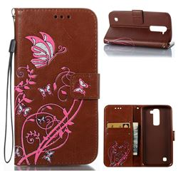 Embossing Narcissus Butterfly Leather Wallet Case for LG K7 - Brown