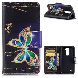 Golden Shining Butterfly Leather Wallet Case for LG K7