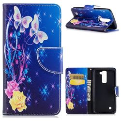 Yellow Flower Butterfly Leather Wallet Case for LG K7