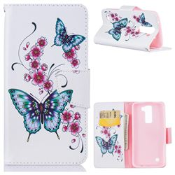 Peach Butterfly Leather Wallet Case for LG K7