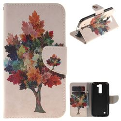 Colored Tree PU Leather Wallet Case for LG K8
