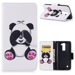 Lovely Panda Leather Wallet Case for LG K8