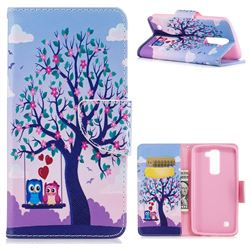 Tree and Owls Leather Wallet Case for LG K8