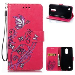 Embossing Narcissus Butterfly Leather Wallet Case for LG K8 2017 - Rose