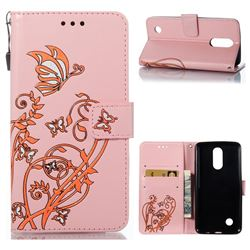 Embossing Narcissus Butterfly Leather Wallet Case for LG K8 2017 - Pink