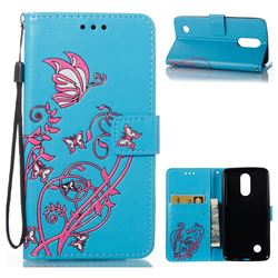 Embossing Narcissus Butterfly Leather Wallet Case for LG K8 2017 - Blue