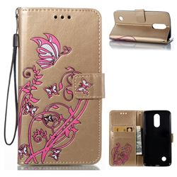 Embossing Narcissus Butterfly Leather Wallet Case for LG K8 2017 - Golden