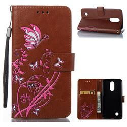 Embossing Narcissus Butterfly Leather Wallet Case for LG K8 2017 - Brown