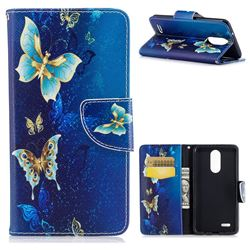 Golden Butterflies Leather Wallet Case for LG K8 2017
