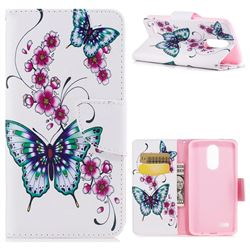 Peach Butterfly Leather Wallet Case for LG K8 2017