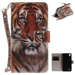 Siberian Tiger Hand Strap Leather Wallet Case for LG X Power LS755 K220DS K220 US610 K450