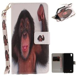 Cute Monkey Hand Strap Leather Wallet Case for LG X Power LS755 K220DS K220 US610 K450