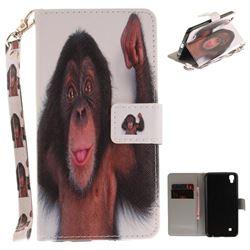 Cute Monkey Hand Strap Leather Wallet Case for LG X Power LS755 K220DS K220 US610 K450