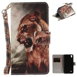 Majestic Lion Hand Strap Leather Wallet Case for LG X Power LS755 K220DS K220 US610 K450