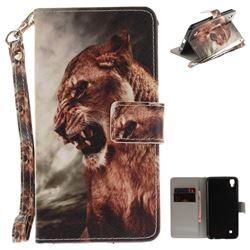 Majestic Lion Hand Strap Leather Wallet Case for LG X Power LS755 K220DS K220 US610 K450