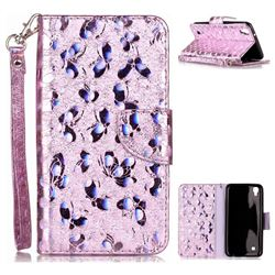 Luxury Laser Butterfly Optical Maser Leather Wallet Case for LG X Power LS755 K220DS K220 US610 K450 - Purple