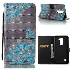 Blue Flower 3D Painted Leather Wallet Case for LG X Power LS755 K220DS K220 US610 K450