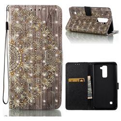 Golden Flower 3D Painted Leather Wallet Case for LG X Power LS755 K220DS K220 US610 K450