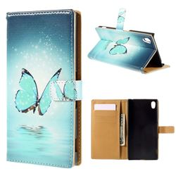 Blue Butterfly Leather Wallet Case for Sony Xperia M4 Aqua E2303 E2333 E2353