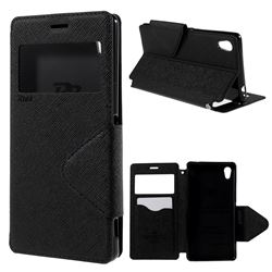 Roar Korea Diary View Leather Flip Cover for Sony Xperia M4 Aqua E2303 E2333 E2353 - Black