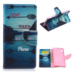 Fishbone Arrows Leather Wallet Case for Sony Xperia M4 Aqua E2303 E2333 E2353