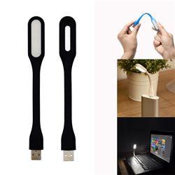 Flexible USB Portable LED Light Lamp for PC Notebook Laptop Power Bank - Black