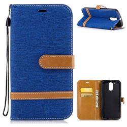 Jeans Cowboy Denim Leather Wallet Case for Motorola Moto G4 G4 Plus - Sapphire