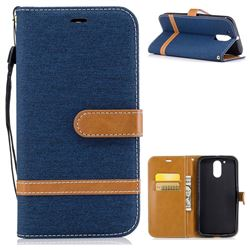 Jeans Cowboy Denim Leather Wallet Case for Motorola Moto G4 G4 Plus - Dark Blue