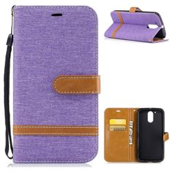 Jeans Cowboy Denim Leather Wallet Case for Motorola Moto G4 G4 Plus - Purple