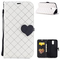 Symphony Checkered Dual Color PU Heart Leather Wallet Case for Motorola Moto G4 G4 Plus - White