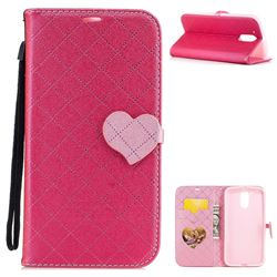 Symphony Checkered Dual Color PU Heart Leather Wallet Case for Motorola Moto G4 G4 Plus - Rose