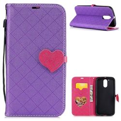 Symphony Checkered Dual Color PU Heart Leather Wallet Case for Motorola Moto G4 G4 Plus - Purple