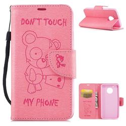 Intricate Embossing Chainsaw Bear Leather Wallet Case for Motorola Moto G5 - Pink