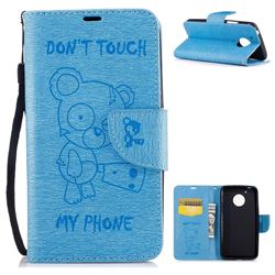 Intricate Embossing Chainsaw Bear Leather Wallet Case for Motorola Moto G5 - Light Blue