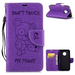 Intricate Embossing Chainsaw Bear Leather Wallet Case for Motorola Moto G5 - Purple
