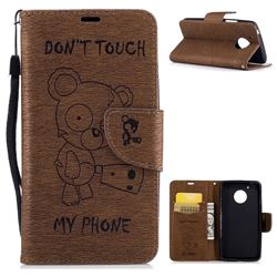 Intricate Embossing Chainsaw Bear Leather Wallet Case for Motorola Moto G5 - Coffee