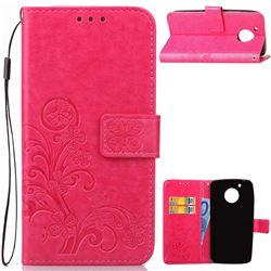 Embossing Imprint Four-Leaf Clover Leather Wallet Case for Motorola Moto G5 - Rose