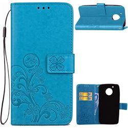 Embossing Imprint Four-Leaf Clover Leather Wallet Case for Motorola Moto G5 - Blue