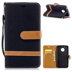 Jeans Cowboy Denim Leather Wallet Case for Motorola Moto G5 - Black