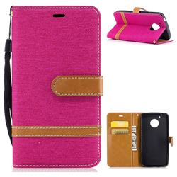 Jeans Cowboy Denim Leather Wallet Case for Motorola Moto G5 - Rose