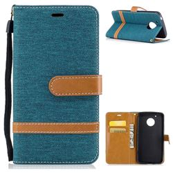 Jeans Cowboy Denim Leather Wallet Case for Motorola Moto G5 - Green