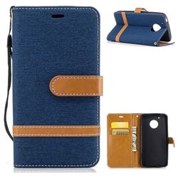 Jeans Cowboy Denim Leather Wallet Case for Motorola Moto G5 - Dark Blue