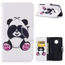 Lovely Panda Leather Wallet Case for Motorola Moto G5
