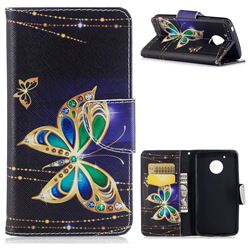 Golden Shining Butterfly Leather Wallet Case for Motorola Moto G5