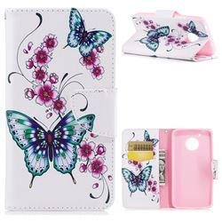 Peach Butterfly Leather Wallet Case for Motorola Moto G5