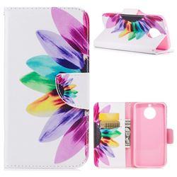 Seven-color Flowers Leather Wallet Case for Motorola Moto G6