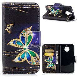 Golden Shining Butterfly Leather Wallet Case for Motorola Moto G6