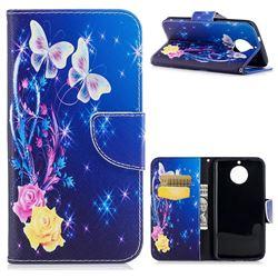 Yellow Flower Butterfly Leather Wallet Case for Motorola Moto G6