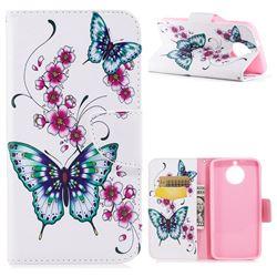 Peach Butterfly Leather Wallet Case for Motorola Moto G6