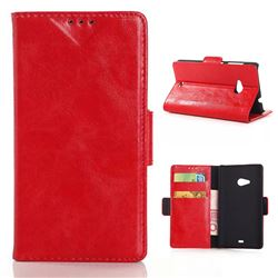 Oil Skin Leather Wallet Case for Microsoft Lumia 535 / Nokia Lumia 535 Dual SIM Nokia Lumia 535 - Red